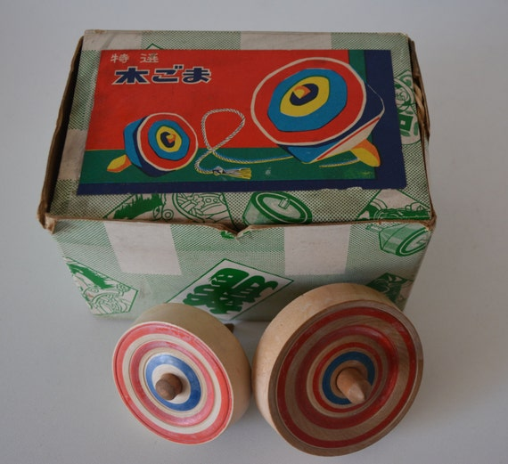 Japanese Toy Tops : Pair of vintage wooden spinning tops japanese by styledinjapan