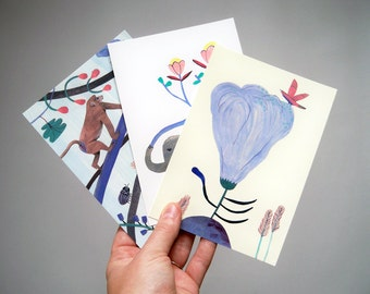 Set of 3 postcards, The Jungle I, Illustration, Digital print