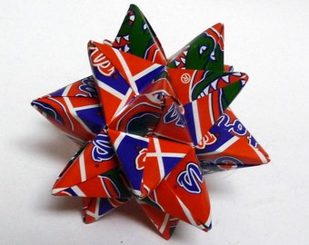 Medium Origami Star Made From Licensed University of Florida Paper, Florida Gators Star, Gators Decoration
