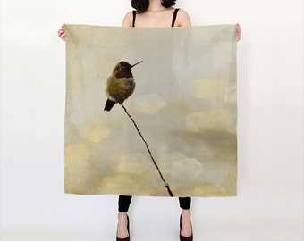 Photo Print Silk Scarf  Hummingbird Print  Bird Photography  Woodland Creatures Neutral Colors  Gift For Her  Under 50  26x26 and 36x36