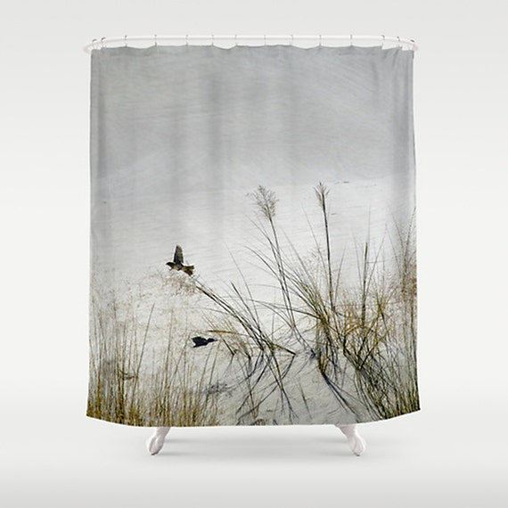 Shower Curtain Photography Shower Curtain, White Sands Desert, Bird in ...