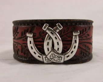 Cowboy Cuff from Repurposed Cowboy Belt Double Horseshoe Concho - Made in Texas