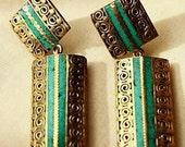 Beautiful turquoise earrings with filigree work