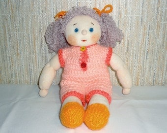 Knitted Doll With Curly Hair in Pink Jumpsuit - OOAK Soft Toy