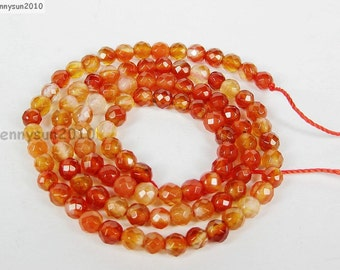 Natural Carneline Gemstones 4mm Faceted Round Spacer Loose Beads 15'' Strand for Jewelry Making Crafts