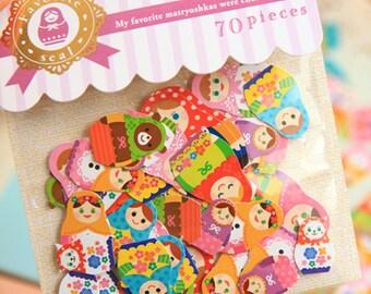 XMAS PROMO Favorite seal Scrapbook Die-cut Sticker flakes, Matryoshka Dolls (STFL01080)