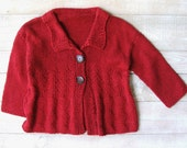 Girls Clothes - Toddler Girl Cranberry Red Sweater Size 3T to 4T Sweater - Hand Knitted Baby Girls Sweater