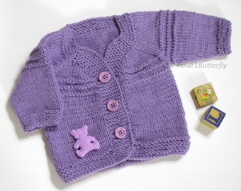 Baby cardigan 6- 9 months, sweater for boy girl, infant fashion unisex baby shower gift, photo props, in lilac / purple, teddy bear applique