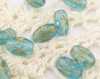 6X4 Aqua Rice Beads With Gold Inlay Star (20)