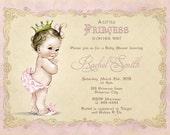 Vintage Pink Princess Girl Baby Shower Invitation - FREE Thank You Card Printable - Royal Princess Baby Shower - Baby Girl Shower Invite