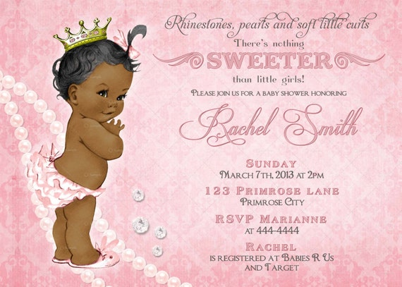 african american girl baby shower invitation free thank you, Baby shower invitations