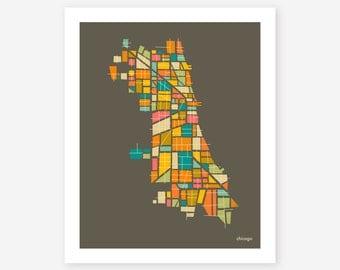 CHICAGO Map, Giclee Fine Art Print, Modern, Minimal Wall Art for the Home Decor