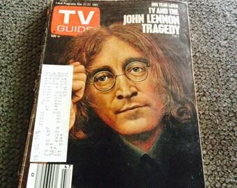 Vintage TV Guide John Lennon Tragedy