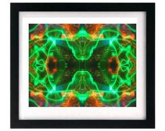 11 x 8.5 Orange & Green Light Painting Giclée Print