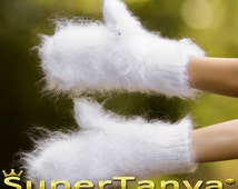 Made to order hand knit thick and fuzzy mohair mittens in white by SuperTanya