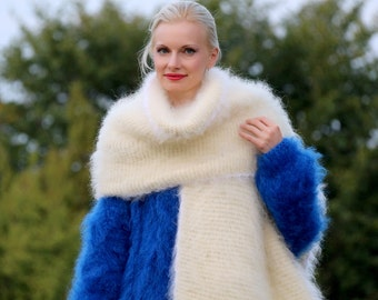 Made to order extra long hand knitted warm mohair scarf, ivory cream shawl by SuperTanya