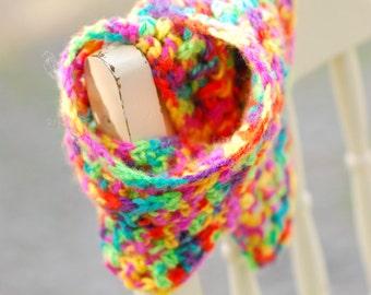 Multi-colored Crochet Scarflette