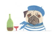 Greeting Card - Jean-Paul Pug French Philosopher Dog Card Funny Card