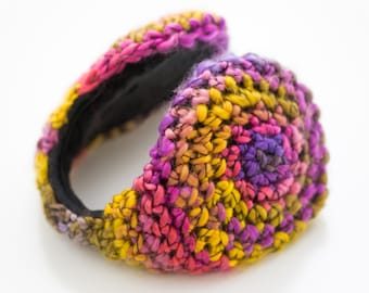 Girl Earmuff - purple, yellow, pink and maroon Wool  ear muffs - ear warmer - Knit Accessories