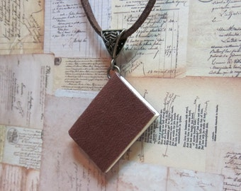 Book Necklace, Miniature Book Necklace, Blank Book Necklace, Handmade Book Necklace, Book Lovers Jewelry, Tiny Book Necklace, Brown Leather