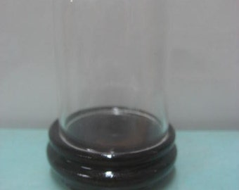 Glass Miniature Dome With Wooden Base