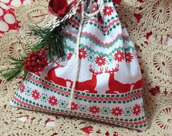 Christmas fabric gift bag with ornament
