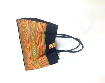 Vintage Tribal Bag - Woven Ethnic Tribal Purse - Structured Colorful Satchel - Bohemian Bag