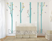 Tree with birds Wall Decal. Wall Sticker. Vinil wall decal. Birch trees Removable