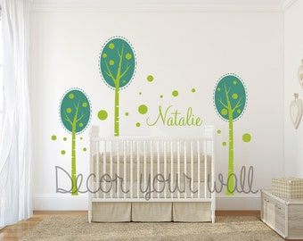 Tree and name Wall Decal. Wall Sticker. Vinil wall decal. Birch trees. Nursery decal.