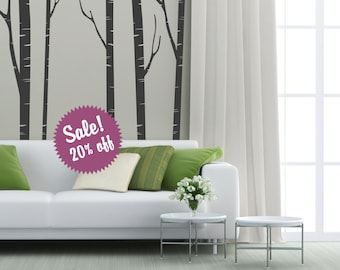 Sale. Tree with birds Wall Decal. Wall Sticker. Vinil wall decal. Birch trees