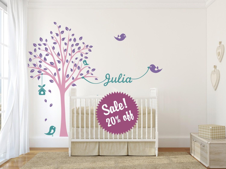 Vente pochoir mural arbre avec des oiseaux et par - Pochoir mural chambre ...