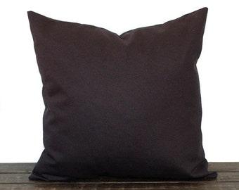 Black pillow cover One cushion sham modern decor solid black cotton duck