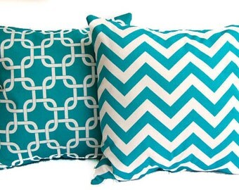 Turquoise throw pillow covers set of two turquoise and white Chevron zig zag and Gotcha links print