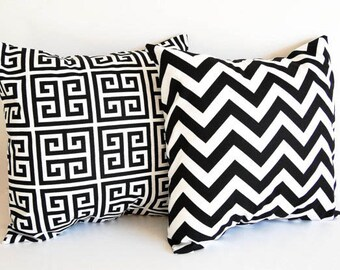 Pair of pillow covers cushion covers shams black and white throw pillow covers black modern decor