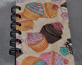 Recycled Mini Cupcake Spiral Bound Notebook-Total of 1 Notebooks.
