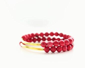 Hot Pink Magnesite Gemstones Gold Bar Beaded Stackable Bracelets