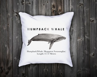 Modern Pillow Cover with remarkable Humpback whale. Modern bedding. Scandinavian home decor.Pillow Case 18x18.