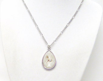 Light Pink  Resin on Silver Tear Drop Charm Necklace