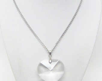 Chunky Crystal Heart Pendant Necklace