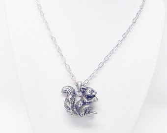 Rustic Antique Silver Plated Squirrel Pendant Necklace