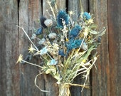 Flower Bouquet Dried Arrangement  Royal Blue Teal Thistle No. 68