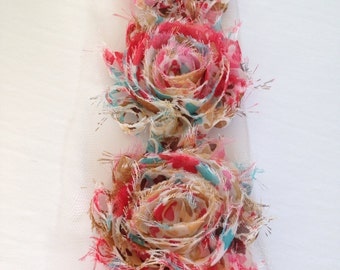 Floral multicolor Chiffon flower shabby frayed rosette