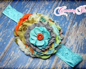 Orange, Turquoise, Olive Green, Grey, M2M Giggle Moon Treasured Possession, Fall Flower Headband, Hair Accessory, Baby Hair Bow, Hair Clip