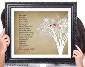 LOVE Never Fails, Corinthians, Birds, Wedding Gift, 50th Anniversary Wedding Gift, 1st Anniversary, Gift for Wife, Tree 8x10