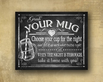 """Printed """"Grab your Mug"""" glass jar wedding favor sign - chalkboard signage - 3 sizes available with optional add ons"""