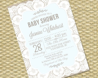 Rustic Baby Boy Shower Invitation Burlap Lace Baby Shower Invitation Lace Burlap Shabby Chic Sip and See, ANY EVENT