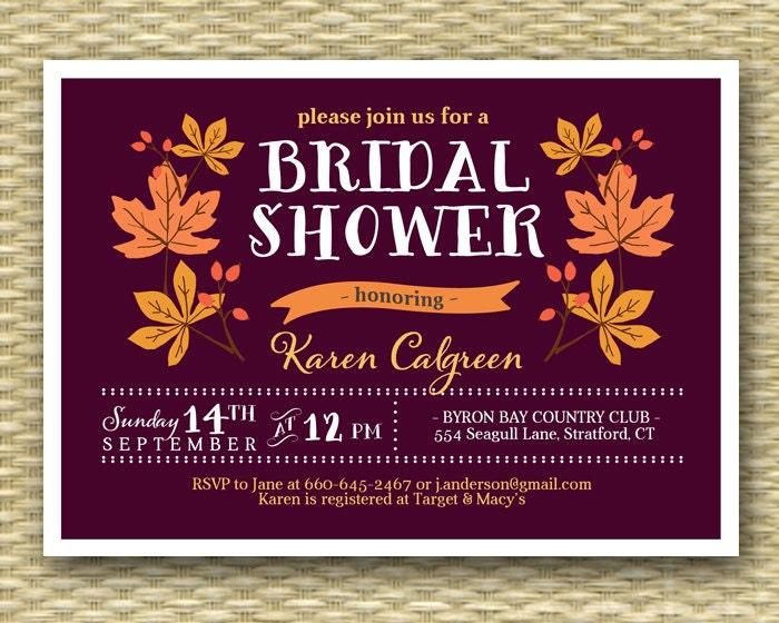 Fall Wedding Shower Invitations: Bridal Shower Invitation Fall Leaves Burgundy Burnt Orange