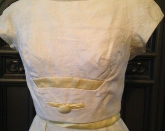 60s Nicholas Ungar Day Dress with Yellow Satin Details