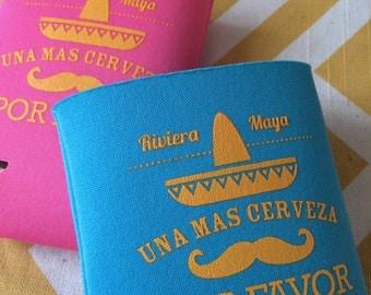 Moustache Sombrero Fiesta can coolers, Mexico destination wedding favors, Una Cerveza Mas can coolers (100 qty)