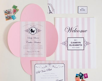 Pink Stripe Baby or Bridal Shower Invitation, paris baby shower Invitation, Parisian theme shower invite, shower invitation